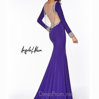 Long Sleeved Jersey Angela & Alison Formal Prom Gown 51003