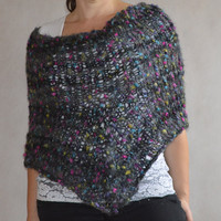 Loose Knit Poncho, Grey and black cover up, Loose Knit Capelet for women, Hand Knitted poncho, Ready To Ship