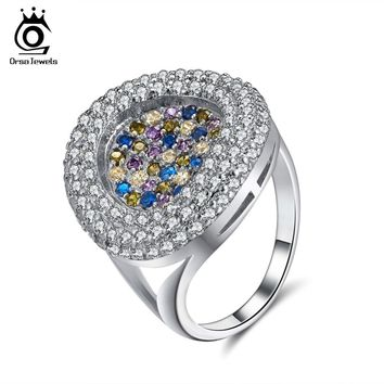 ORSA JEWELS Luxury Women Ring AAA Full Pave Colorful Dazzling CZ Female Wedding Party 2018 Fashion Trendy Girl Jewelry OR157