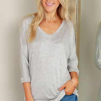 Half Sleeve V-Neck Top Heather Grey