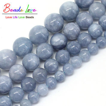 """Free Shipping Natural Stone Angelite Loose Spacer Beads 6 8 10 12mm Strand 15"""" For Jewelry Making-F00270"""