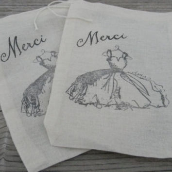 Set of 10 Hand stamped Merci Dress Wedding Bridesmaid Sweet 16 Quinceanera Muslin Party Favor Bags 100% organic Eco Friendly
