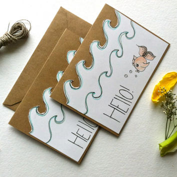 Friendly Fish. Blank Greeting Card, Hello, Thinking of You Card on Kraft Brown w/ Ilustration on Bristol Board, Multiple Color Options