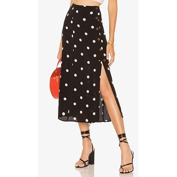 Free People Retro Love Midi Skirt Black