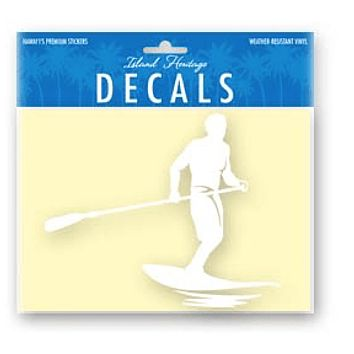 Paddle Surfer White Sticker Decal, Large