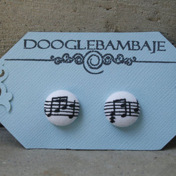 Check'n the Tunes Design- Black & White Music Musical Melody Notes Fabric Button Earrings- Wedding- Classy Line