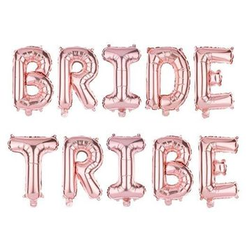 BRIDE TRIBE Non-Floating Letter Balloons - 13 Inch Rose Gold