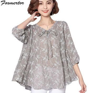 2017 New Summer Casual Women Blouse Loose Long Plus Size 5XL 6XL Print Tunic Shirt Floral Cotton Linen Top feminina Blusas 101