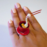 Kawaii Miniature Food Floating Ring - Mochi Zenzai (Sweet Red Bean) Soup