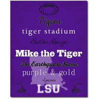 LSU Louisiana State Fighting Tigers Football Suway Football Art Print Gift Home Decor 8x10 Typography