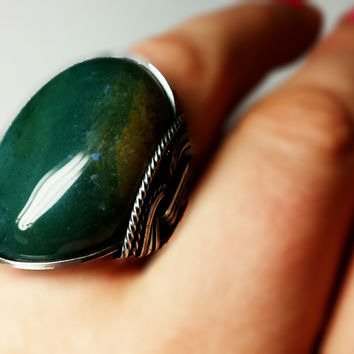 Green Ring, Natural Agate Stone, Oxidized Sterling Silver, Any Size