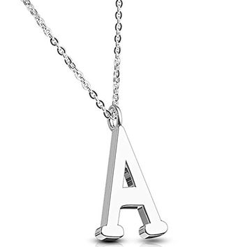BodyJ4You Letter Necklace A Initial Alphabet Charm A Stainless Steel Chain