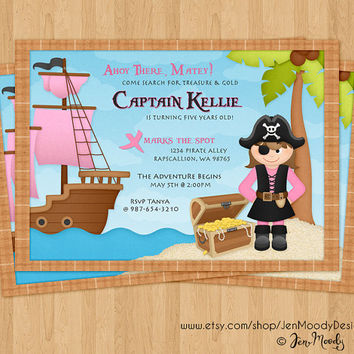 Girl's Pirate Buccaneer Birthday Invitation, Ahoy Matey Party Invite - Printable, Digital, Treasure Chest, Pirate Ship, Treasure Hunt