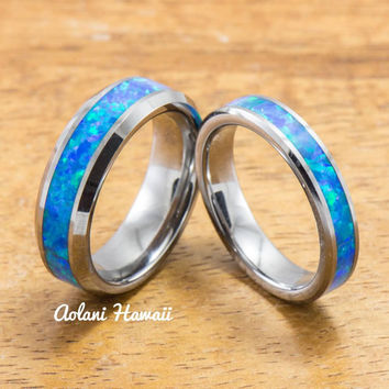 Wedding Band Set of Tungsten Rings with Opal Inlay (6mm & 4mm width, Flat Style)