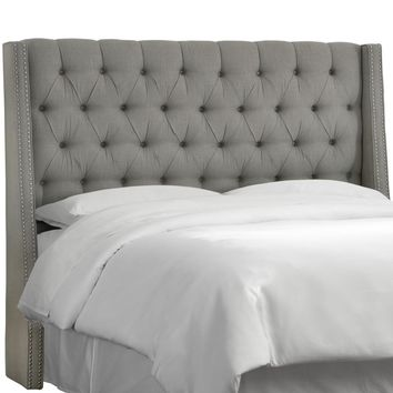 Linen Grey King Nail Button Tufted Wingback Headboard-123NB-PWLNNGR - The Home Depot