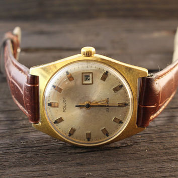 Vintage Poljot automatic mens watch gold plated russian watch ussr ccp soviet watch