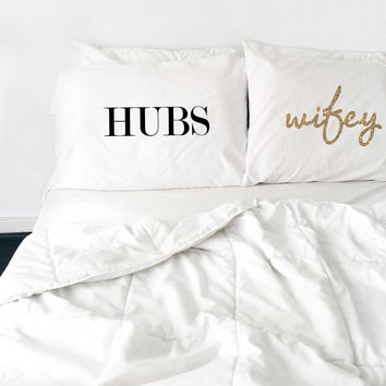 Hubs Wifey Couples Pillowcases (Standard/Queen Size)