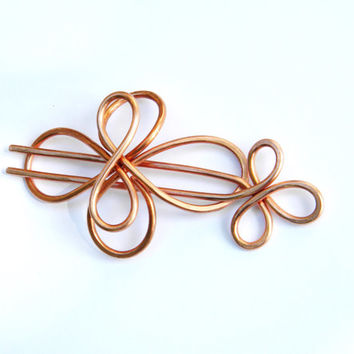 Hair Fork, Hammered Copper, Hair Slide, Hair Stick, Bumble Bee, Hair Barrette, Hair Clips, Metal Hair Sticks, Hair Pin, Hair Accessories
