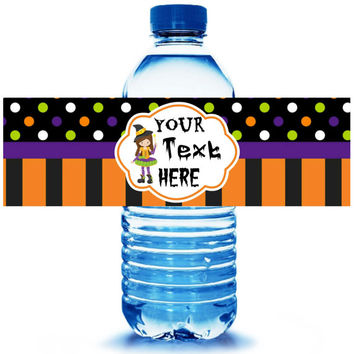 Halloween Party Water Bottle Label 5ct - Party Supplies - Halloween Party Favors - Vampire Favors - Halloween Witch- FREE Personalization