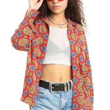 Vintage 90's Primary Kaleidoscope Button-Up - One Size Fits Many