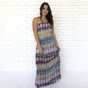 Colors of the Wind Strapless Maxi