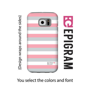 Monogram Samsung Galaxy S6 Edge case, pink Galaxy S6 Case, custom Galaxy S5 case, Galaxy S4 case, pink Galaxy S6 case, 3D wrap around case