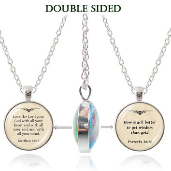 Women's Double Sided Inspirational Bible Scripture Pendant Necklaces - Many To Choose From