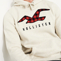 Guys Patterned Logo Hoodie | Guys 40% Off Winter Favorites | HollisterCo.com
