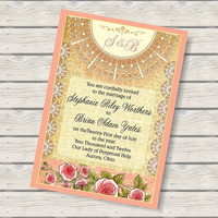Cabbage Roses Shabby Chic Wedding Invitation Suite by AllisStudio