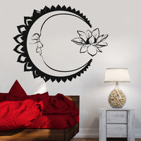 Vinyl Wall Decal Moon Lotus Flower Meditation Yoga Bedroom Design Stickers Unique Gift (1118ig)