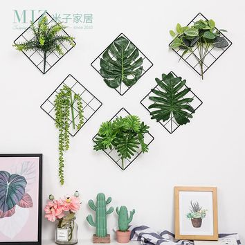 Artificial Plants Wall Decorations Living Room Artificial Leaves Home Decoration Nordic Style Wall Hanging Decor