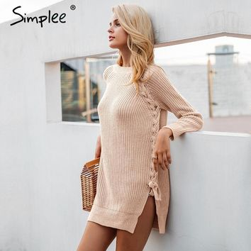 Simplee Elegant lace up women casual knitting split pullover winter sweater