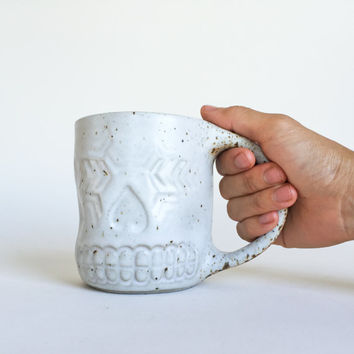 SPECKLED SKULL MUG 16oz, ceramic, pottery, handmade, coffee, tea, hot, cocoa, chocolate, milk, water, chai, latte, juice, beer, sugarskull