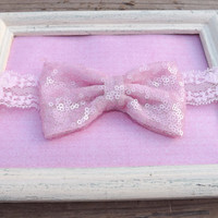 Pink Sequin Fabric Bow Lace Headband, Glitter-like Fabric Bow Headband For Baby, Bow Turban Head-wrap