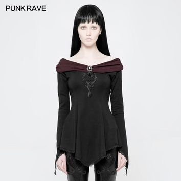 PUNK RAVE 2018 New Arrivals Women Slash Neck T-Shirt Punk Gothic Gorgeous Cuffs Tiny Horn-shaped Lace Edge Long Sleeve T-shirt