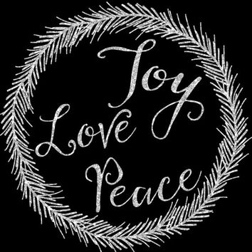 8x10 Printable Wall Art Christmas Joy Love Peace quote print silver glitter holiday typography printable wreath art print INSTANT DOWNLOAD