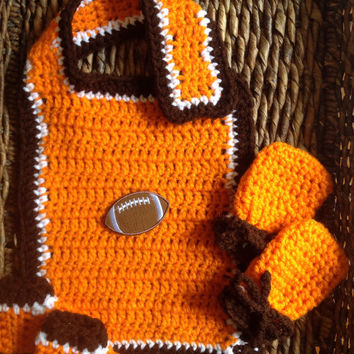 Cleveland Browns Bib Mitts and Booties Crochet Gift Set Copy