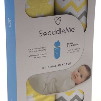"""Swaddle Me Original Small 0-3 Months 7-14 lbs Up to 26"""" 2 Swaddles 100% Cotton"""