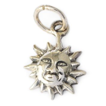 Small Sun Silver Pewter Charm Necklace Pendant Jewelry
