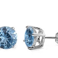 Aquamarine Silver Round CZ Stud Earrings