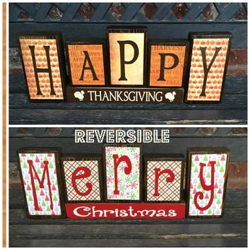 Reversible Christmas and Thanksgiving wood blocks-(red/muted)Happy Thanksgiving reverses with Merry Christmas