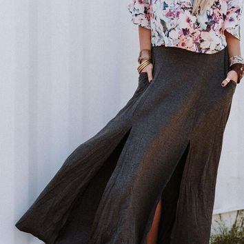 Luella Maxi Skirt - Charcoal