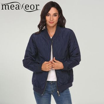 Meaneor Women Bomber Jacket Lightweight Long Sleeve Zip Up stripe Casual Quilted Pockets Warm 2017 Autumn Jacket Stand Collar