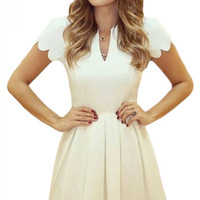 White Sweet Scallop Pleated Skater Dress