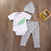 Autumn Newborn Infant Baby Boy Girl Outfit Top+Pants Legging Hat Clothes 3PCS Set 0-18M