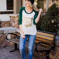 Merry & Bright Green Sleeve Top