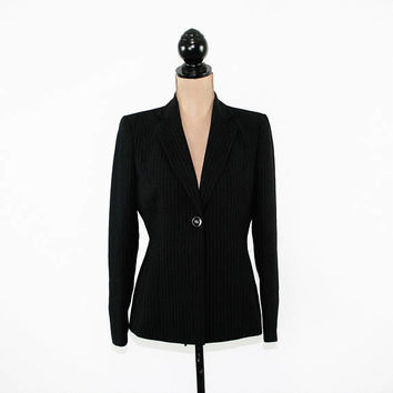 Black Blazer Jacket Women Small Medium Petite Pinstripe Kasper Size 4 Jacket Womens Clothing