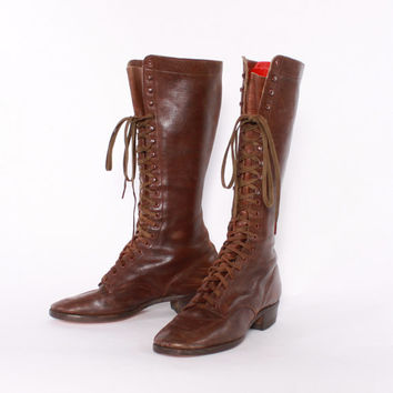 Vintage 30s BOOTS / 1930s RARE Knee High Lace Up Brown Leather Tall Boots Women's Sz 5.5-6