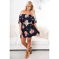 Rosabella Floral Dress (Navy)