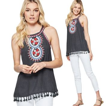Andie Embroidered Halter Top